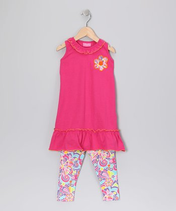 Hot Pink Ruffle Tunic & Leggings - Toddler