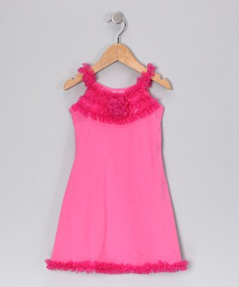 Hot Pink Rosette Dress - Toddler & Girls