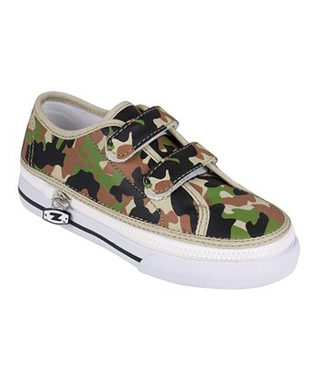 Zipz Shoes Green & Brown Army Camo Two-Strap Sneaker