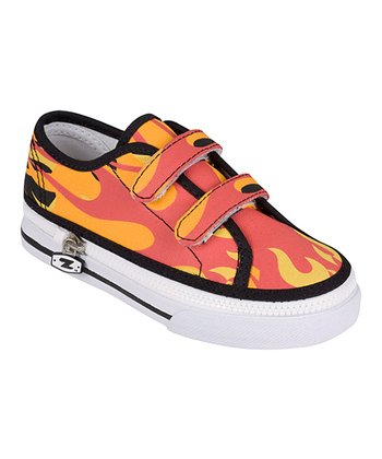 Zipz Shoes Red & Orange Flamez Two-Strap Sneaker