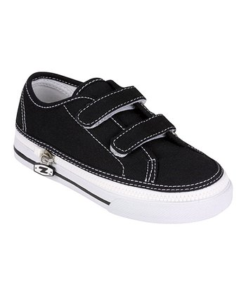 Zipz Shoes Jet Black Two-Strap Sneaker