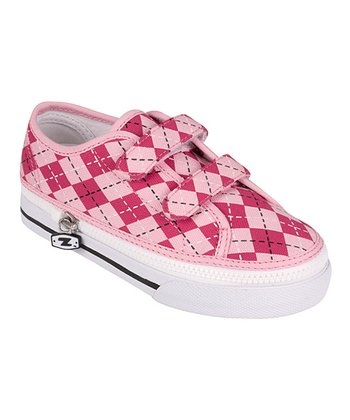Zipz Shoes Pink Argyle Two-Strap Sneaker