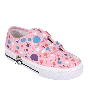 Zipz Shoes Pink & Blue Polka Dotz Two-Strap Sneaker