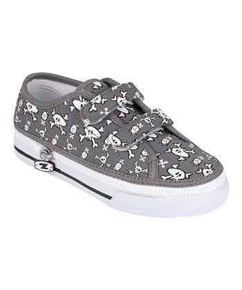 Zipz Shoes Gray Skullz Two-Strap Sneaker