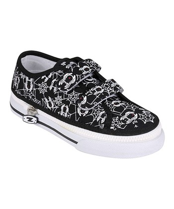 Zipz Shoes Black Spiderz Two-Strap Sneaker
