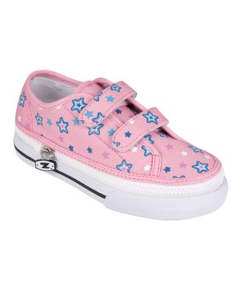 Zipz Shoes Pink & Blue Starz Two-Strap Sneaker