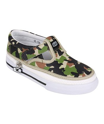 Green & Brown Army Camo T-Strap Sneaker