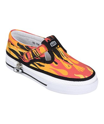Red & Orange Flamez T-Strap Sneaker