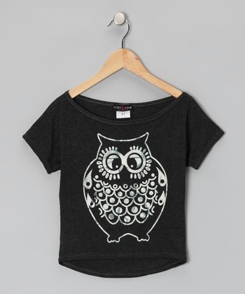 Dark Gray Owl Tee - Girls