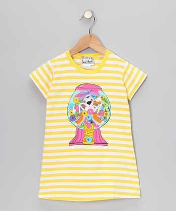 Yellow Stripe Bubblegum Dress - Toddler & Girls