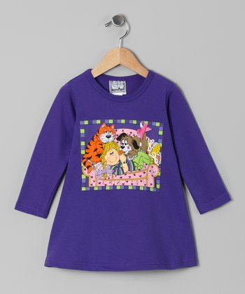 Purple Cat & Dog Dress - Toddler & Girls