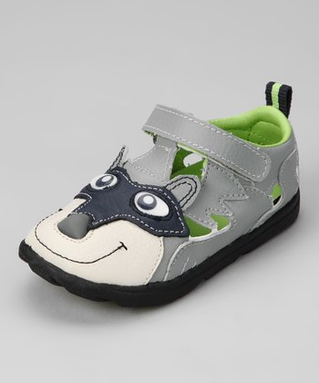 Zooligans Griffin Black & Moonbeam Gray Ringo the Raccoon Sport Sandal