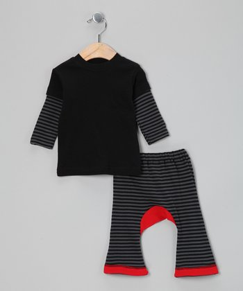 Black & Red Stripe Layered Tee & Pants
