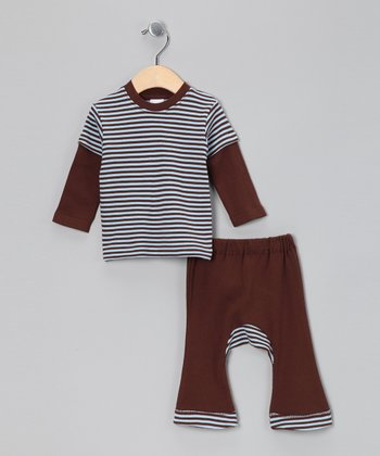 Light Blue & Brown Stripe Layered Tee & Pants