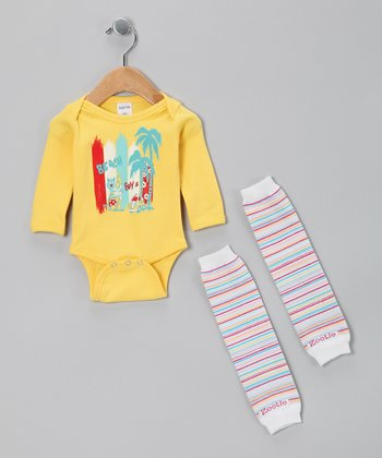 Yellow Beach Boys Bodysuit & Leg Warmers