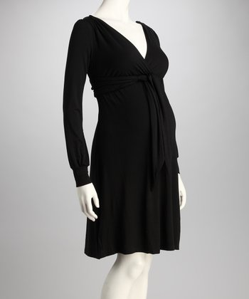 Black Maternity Tie-Front Dress