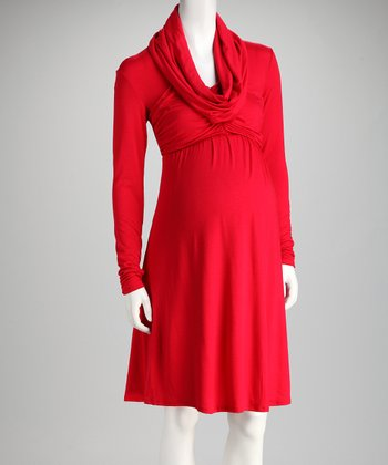 Zula Gypsy Red Maternity Cowl Neck Dress