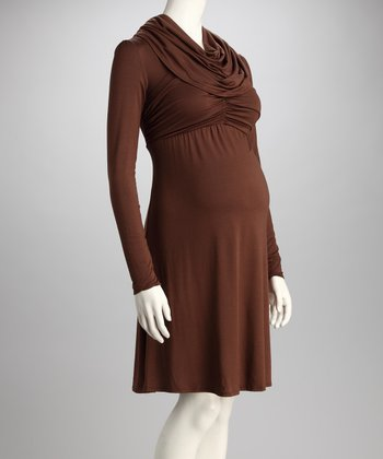 Wine Maternity Cowl Neck Dress