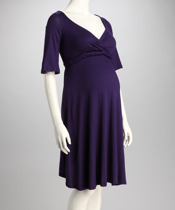Purple Maternity V-Neck Dress
