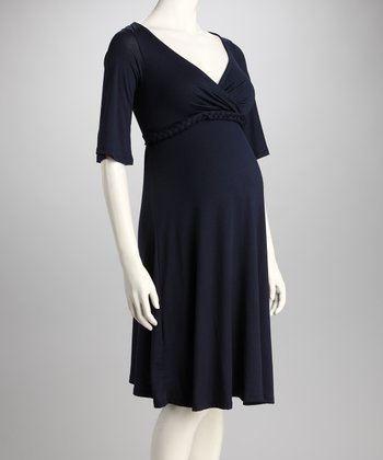 Royal Blue Maternity V-Neck Dress
