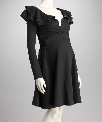 Charcoal Ruffle Maternity Dress