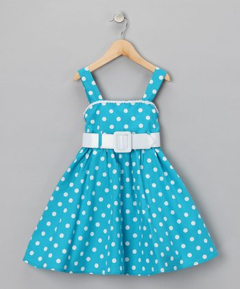 Turquoise Polka Dot Dress - Girls