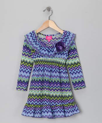 Purple & Green Zigzag Dress - Toddler & Girls