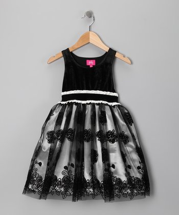 Cream & Black Floral Dress - Girls