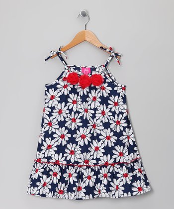 Navy & White Daisy Dress - Girls