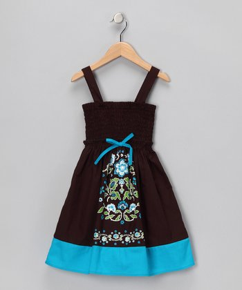 Dark Brown & Blue Shirred Dress - Girls