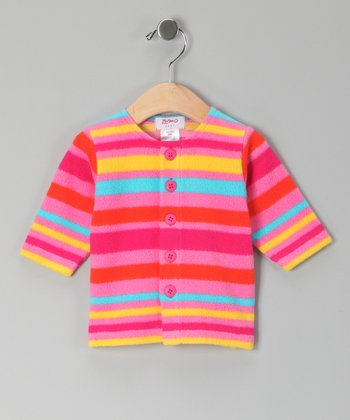 Fuchsia Fleece Stripe Cardigan