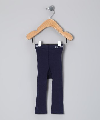 Navy Solid Footless Tights