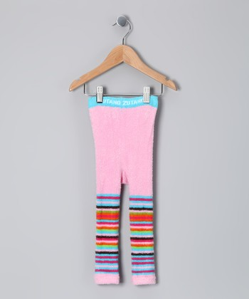 Pink Coloful Stripe Footless Tights