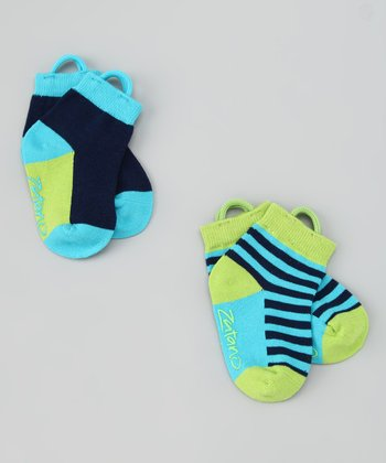 Aqua & Green Stripe Ankle Socks Set