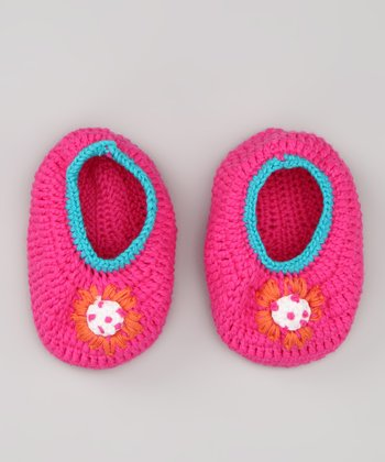 Bright Pink Flower Knit Booties