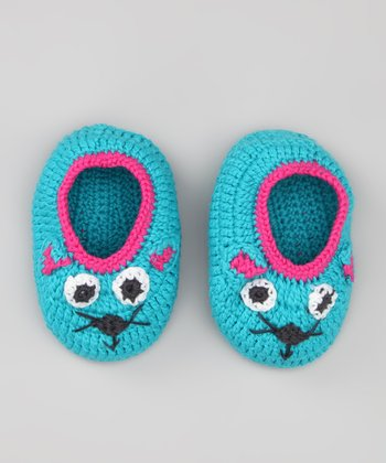 Turquoise Mouse Knit Booties