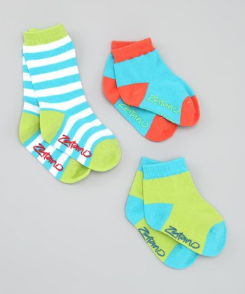Blue & Green Crew & Ankle Socks Set