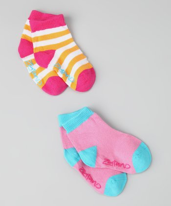 Pink & Orange Cupcake Ankle Socks Set