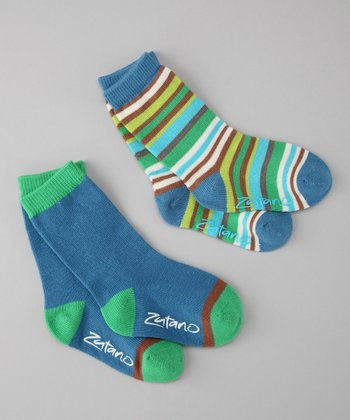 Royal Blue Stripe Crew Socks Set