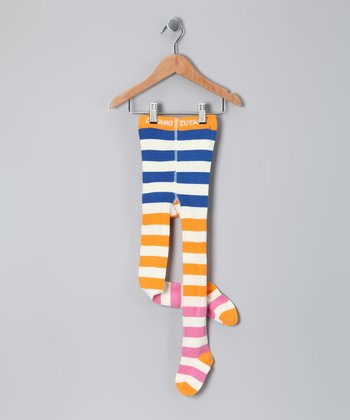 Blue & Orange Stripe Tights