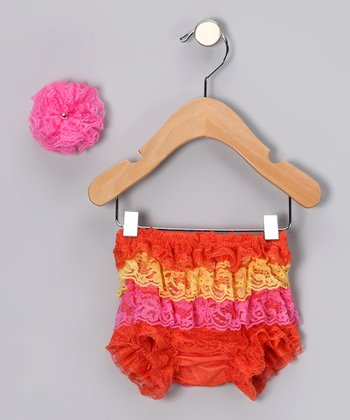 Orange Lace Ruffle Bloomers & Flower Clip - Infant & Toddler
