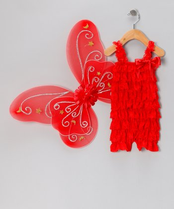Red Lace Ruffle Romper & Wings - Infant & Toddler