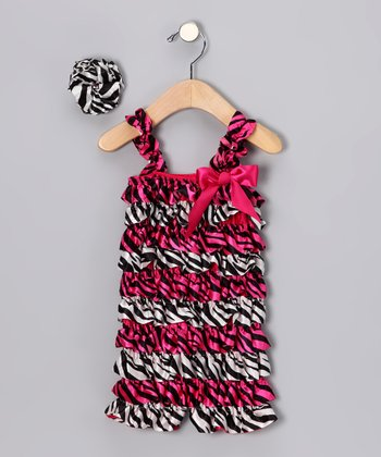 Hot Pink Zebra Ruffle Romper Set - Infant & Toddler