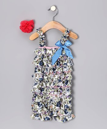 Blue Rose Romper Set - Infant & Toddler