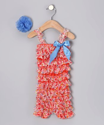 Red & Pink Ruffle Romper & Blue Flower Clip - Infant