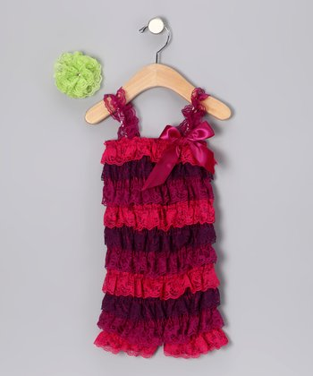 Magenta Romper & Lime Green Clip - Infant & Toddler