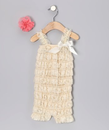 Oatmeal Lace Romper & Clip - Infant & Toddler