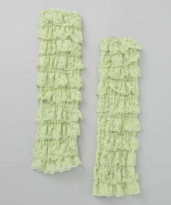 Green Lace Ruffle Leg Warmers