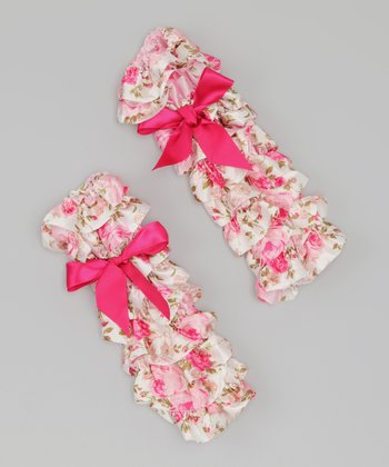 Cream & Pink Heart Ruffle Leg Warmers
