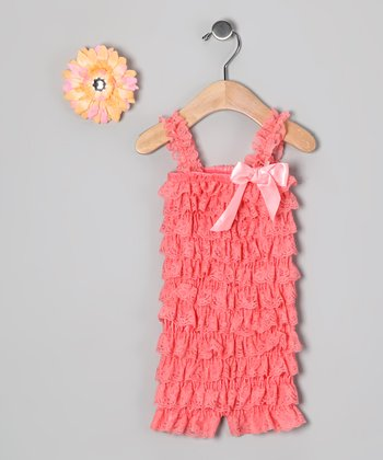 Coral Lace Ruffle Romper & Yellow Flower Clip - Toddler
